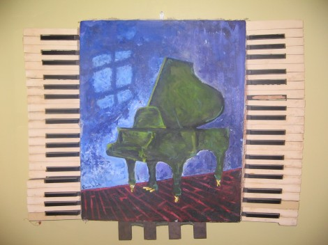 painted in high school art class, framed with first demolished piano parts